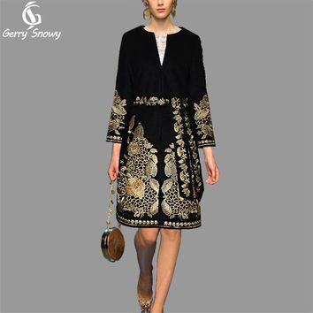 Tweed coat 2017 Wool coat European winter new Couture heavy gold embroidered coat cashmere Overcoat Free Shipping