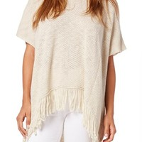 Michael Stars Cotton Knit Fringed High/Low Poncho | Nordstrom