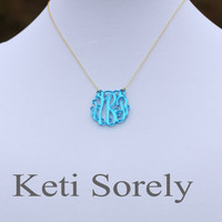 """Mirror Acrylic Initials Necklace 1.25"""" (Order  your initials and favorite color) -Silver with Gold"""