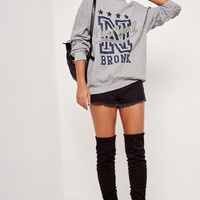 Missguided - New York Bronx Sweatshirt Grey