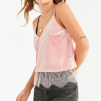 UO Lara Velvet + Lace Cami | Urban Outfitters