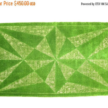 ON SALE Turkish Vintage Rug Hand Carved Overdyed Green Rug 82 x 48 inches Free Shipping