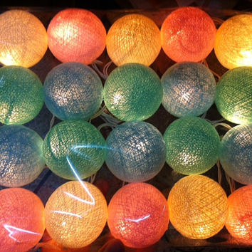 20 x pastel home decoration color beautiful green pastel pink and cream cotton ball color string light patio party