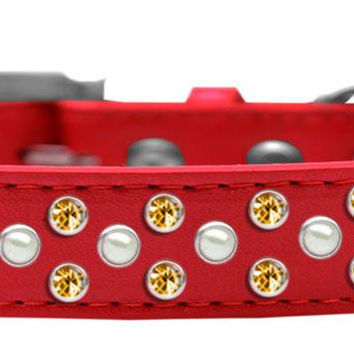 Sprinkles Dog Collar Pearl and Yellow Crystals Size 12 Red