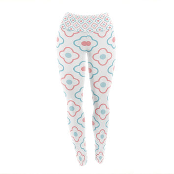 "KESS Original ""Baby Moroccan"" Blue Pink Yoga Leggings"