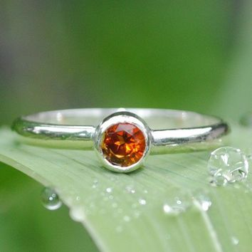 Fire Citrine Ring Sterling Silver Handmade by DalkullanJewelry