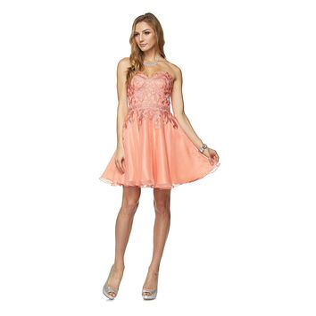 Juliet 772 Coral Strapless Corset Back Homecoming Party Dress