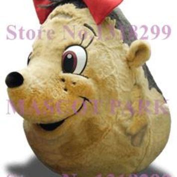 Professional Big Hedgehog Mascot Girl Costume Adult Size Sale Red Bow Lovely Hedgehog Theme Anime Cosplay Costumes Fancy Dress