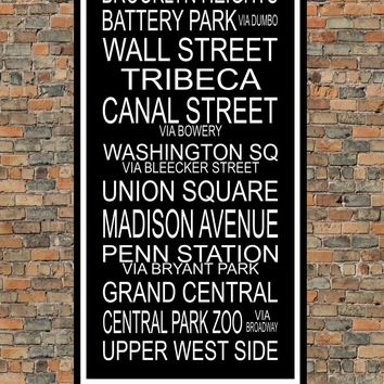 New York City Subway Sign Print - Brooklyn Heights, Tribeca, Union Square, Penn Station - Multiple Sizes