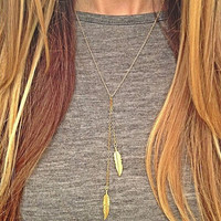 New leaf on a long chain pendant necklace fashion jewelry women / girl Gold Feather charm necklaces YW056