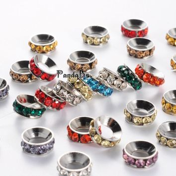 Brass Rhinestone Spacer Beads, Rondelle, Mixed, Nickel Color, about 10mm in diameter, 4mm thick, hole: 5mm