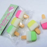 Dream Desserts: Ice Green Yellow Pink Lolly Ice Cream Set Japanese Erasers Iwako Erasers