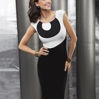 Enny Two-Tone Dress Made In Europe - Career And Day Dresses - Modnique.com