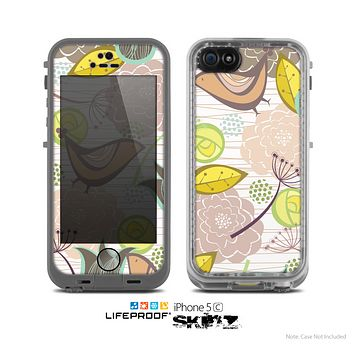 The White Vintage Tan & Gold Vector Birds with Flowers Skin for the Apple iPhone 5c LifeProof Case