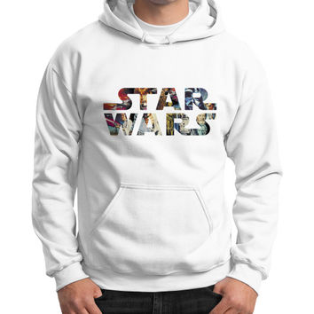 Star Wars Character Logo Gildan Hoodie (on man)