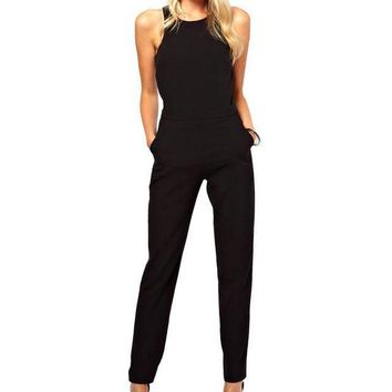 ONETOW Womens rompers jumpsuit casual solid bodysuit sleeveless crew neck long playsuits plus size