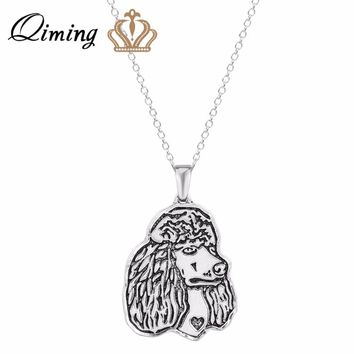 QIMING Women Pendant Necklace Poodle Jewelry pendant and necklace Great for all the Dog Puppy  and Pet Lovers For Girl Gift