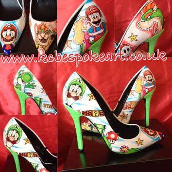 gamer themed custom hand drawn heels or flats