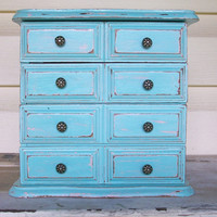 Distressed Vintage Robin's Egg Blue Jewelry Box