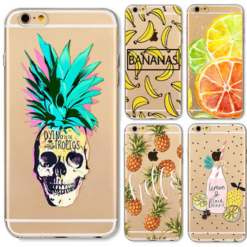 For Apple iPhone 6 6s 5 5S SE Case Soft TPU Friuts Pineapple Banana Strawberry Phone Skin Transparent Clear Back Case Cover