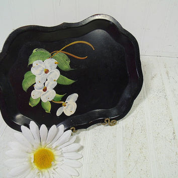 Antique Black Metal Tray with Hand Painted Dogwood Flower Bouquet - Vintage ToleWare Tip Tray - Shabby Chic BoHo Bistro Wait Staff Tip Plate