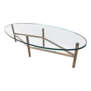 Pre-owned Metal Faux Bamboo Coffee Table