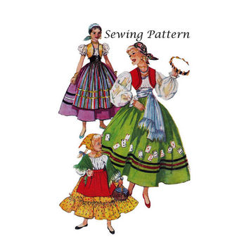 "Simplicity 4861 Girl's Gypsy, Spanish Girl, Peasant Halloween, Dress Up Costume Sewing Pattern Size Small Bust 23-24""/58-61cm Vintage 1950s"