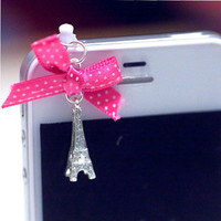 Kawaii MIni Eiffel Tower with Pink Polka Dot by fingerfooddelight