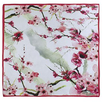 Dahlia Women's 100% Square Silk Scarf - Watercolor Plum Blossom Neckerchief