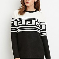 Boxy Meander-Patterned Sweater