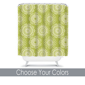 Shower Curtain CUSTOM You Choose Colors Green Mandala Flower Doodle Floral Bathroom Bath Polyester Made in the USA
