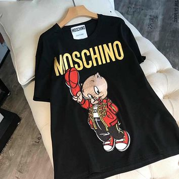 MOSCHINO Hot Sale Women Men Loose Print Pig Embroidery T-Shirt Top Blouse Black