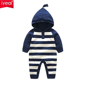 New Arrival Spring Autumn Knitted Striped Long-sleeve Hooded Baby Clothes Children Boys Girls Romper Toddler Outfit