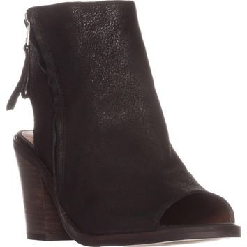 Lucky Brand Terrie Peep Toe Booties, Black, 7.5 US / 37.5 EU