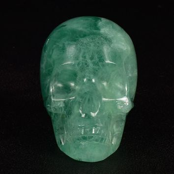 Skull Skulls Halloween Fall 2.75 inch Natural Fluorite  figurine Crystal Carved  statue Realistic Feng shui Home Ornament Crystal Healing Calavera