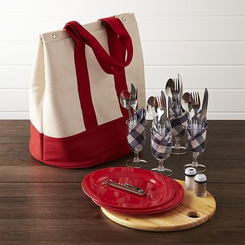 Outfitted Canvas Picnic Tote