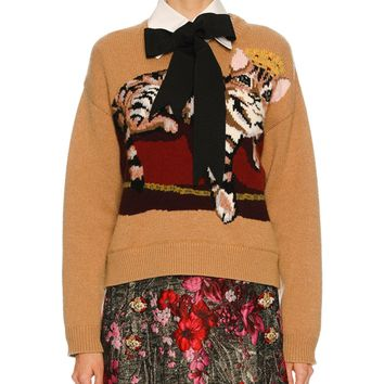 Dolce & Gabbana Knit Sweater w/Cat Intarsia, Nude and Matching Items