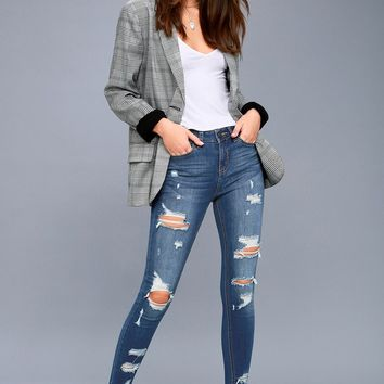 Real Deal Medium Wash Distressed High-Waisted Skinny Jeans