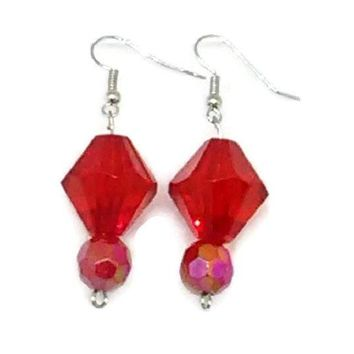 Red Bicone and Solid Faceted Round Beaded Earrings