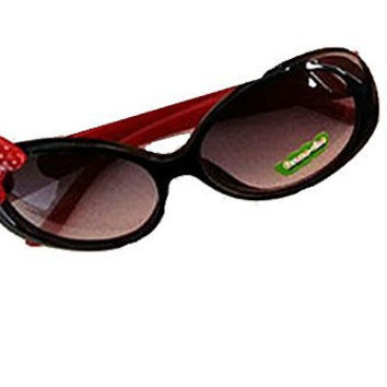 Girls Sunglasses w/ Red Dot Bow and Smiley Red Arms (UV400)