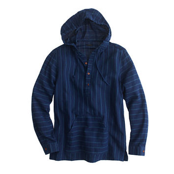 J.Crew Mens Baja Shirt In Indigo-Striped Japanese Linen-Cotton