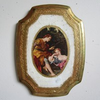 Vintage 50s Florentine Wood Wall Plaque Young Lovers Figural Romantic Gold Gilt 1950s Florentine Made in Italy