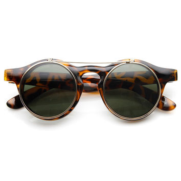 Steampunk Fashion Retro Keyhole Flip-Up Round Sunglasses