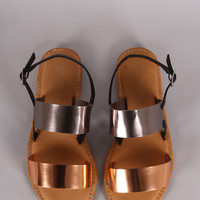 Metallic Two Tone Double Band Flat Sandal