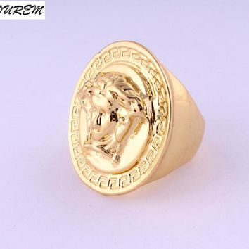 Nickel free fashion hip hop big rings unisex women men street party club ring gold color jewelry alloy fj222 YOUREM