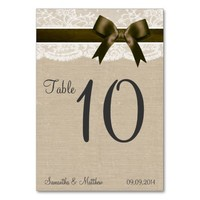 Ivory Lace & Brown Bow, Burlap Table Numbers