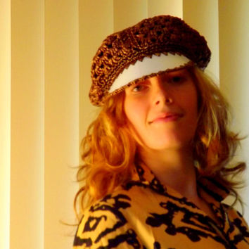 Newsboy Hat, Womens Funky Crochet Hippie Hat, Woven Brown Boho 1970s with Brim