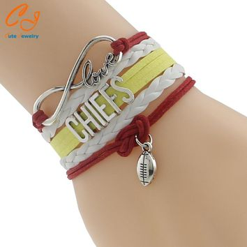 Infinity Love Chiefs Football Team Bracelet Customize Kansas City Sport wristband friendship Bracelets