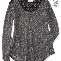 Aeropostale  Junie and Jade Long Sleeve Sheer Slub Knit Hi-Lo Top