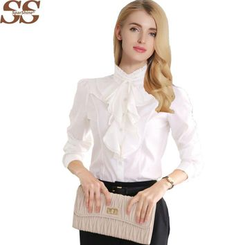 New Arrival Chiffon Ruffles Women Shirts Lady White Shirts Long Sleeve Blouse Shirt Plus Size S-5XL Slim Female Blusa Women Tops